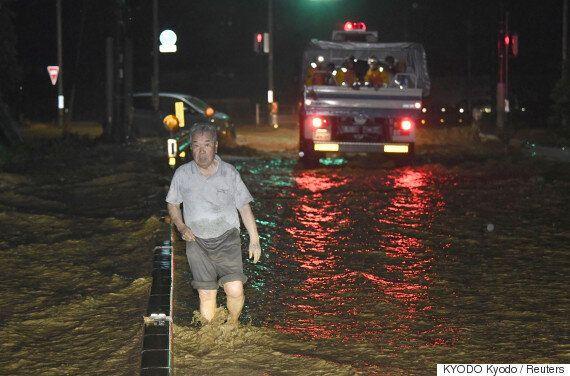 일본 남부 후쿠오카·오이타에 엄청난 수준의 폭우가