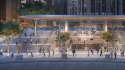 새로운 시카고 애플스토어의 지붕은