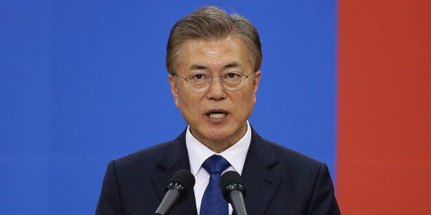 SEOUL, SOUTH KOREA - MAY 10: South Korea's new President Moon Jae-In speaks during his presidential inauguration...