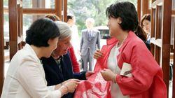 분홍색 누빔옷 칭찬받은 김정숙 여사의