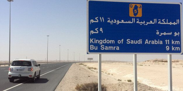 A road sign is seen near Abu Samra border crossing to Saudi Arabia, Qatar June 12, 2017. REUTERS/Tom