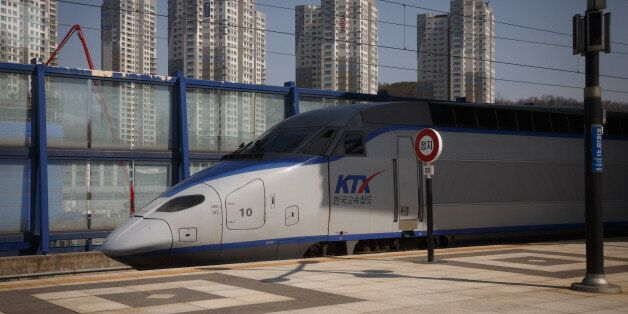 Korean KTX bullet train on the route from Seoul to