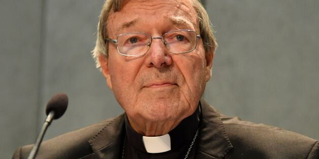 Australian Cardinal George Pell makes a statement at the Holy See Press Office, Vatican city on June...