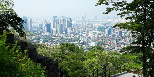 SEOUL, SOUTH KOREA - MAY 18: A view of the city skyline from Namsan Park on May 18, 2017 in Seoul, South...