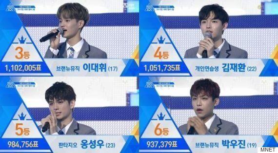 [프로듀스101] 강다니엘 1위·하성운 11위, 워너원 11人 확정...하반기 데뷔