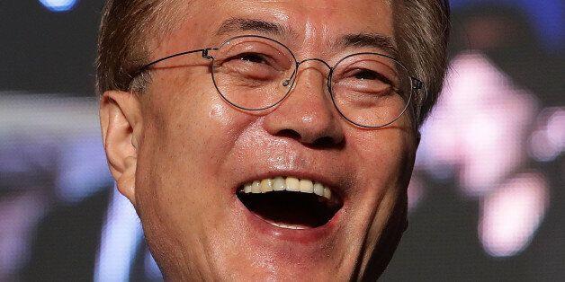 SEOUL, SOUTH KOREA - MAY 09: South Korean President-elect Moon Jae-in, of the Democratic Party of Korea,...