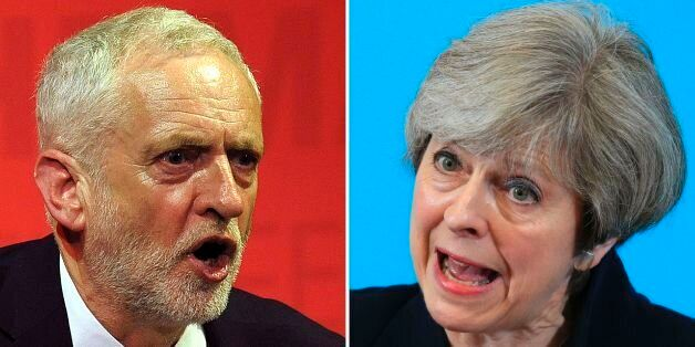 A combination of pictures created in London on May 31, 2017 shows Labour Party leader Jeremy Corbyn (L)...