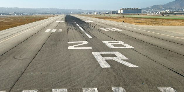 Landing runway at an airport, seen from the