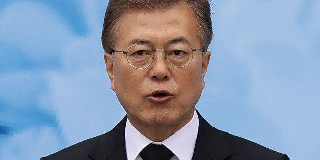 SEOUL, SOUTH KOREA - JUNE 06: South Korean President Moon Jae-in speaks during a ceremony marking Korean...