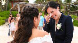 결혼식을 올린 동성 부부들의 기쁨을