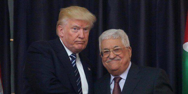 BETHLEHEM, WEST BANK - MAY 23: Palestinian president Mahmoud Abbas (R) and US President Donald Trump...