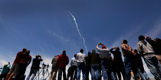 VANDENBERG AFB, CA - MAY 30: Spectators watch a ground-based interceptor rocket is launched on May 30,...