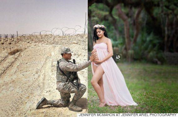 이 임신부는 해외 파병 간 남편과 특별한 만삭 화보를