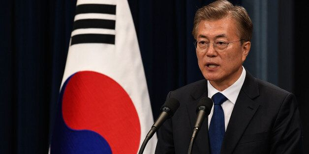 SEOUL, SOUTH KOREA - MAY 10: South Korea's new President Moon Jae-In speaks during a press conference...