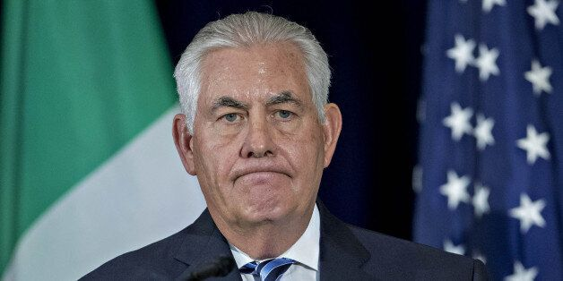 Rex Tillerson, U.S. Secretary of State, pauses while speaking during a news conference after a meeting...