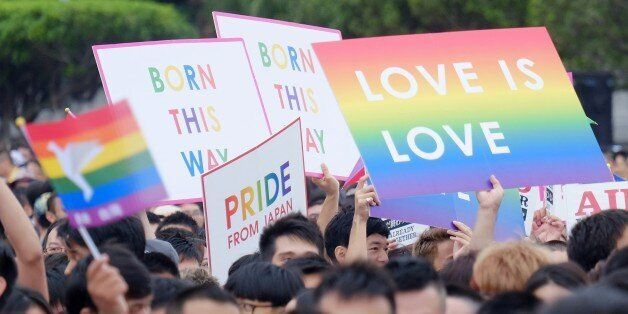 To go with Taiwan-social-election-gay-rights-marriage,FOCUS by Michelle Yun This photo taken on October...