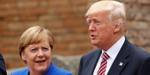 R-L, U.S. President Donald Trump, German Chancellor Angela Merkel and Canadian Prime Minister Justin...