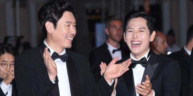 CANNES, FRANCE - MAY 24: (L-R) Actors Kyoung-gu Sul and Yim Si-wan attend the 'The Merciless (Bulhandang)'...