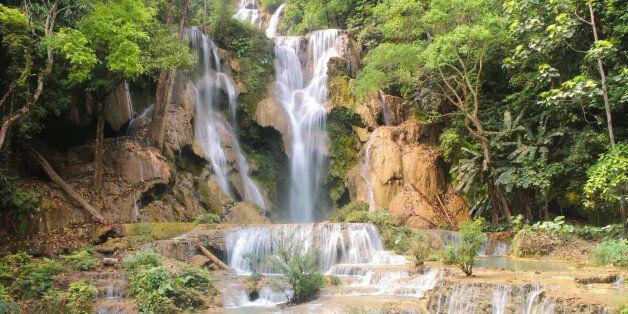 Tat Kuang Si Waterfalls is a three tier waterfall of Luang Prabang
