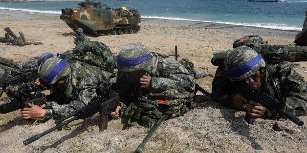 POHANG, SOUTH KOREA - APRIL 02: South Korean marines participate in landing operation referred to as...