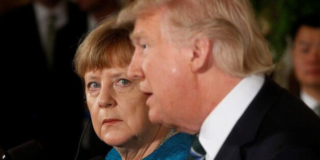 Germany's Chancellor Angela Merkel and U.S. President Donald Trump hold a joint news conference in the...