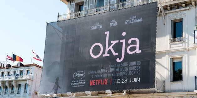 CANNES, FRANCE - MAY 16: A view of 'Okja' film signage during the 70th annual Cannes Film Festival at...