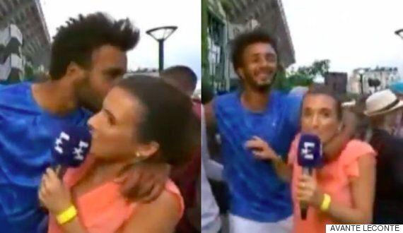 생방송 중 기자에게 강제로 키스한 테니스 선수가 프랑스 오픈서