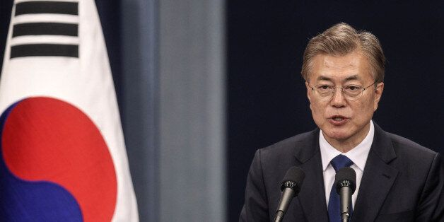 Moon Jae-in, South Korea's president, speaks during a news conference at the presidential Blue House...