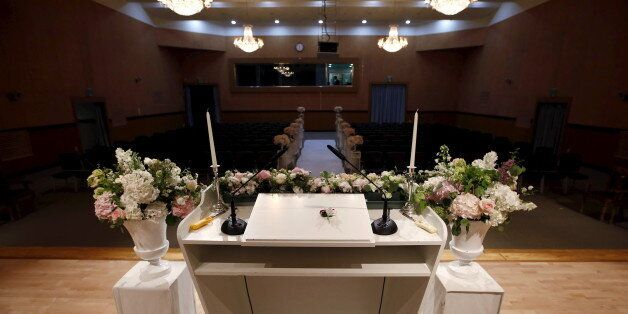 A budget wedding hall is seen in this general view taken at the National Library of Korea in Seoul, South...