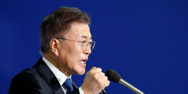 Moon Jae-in speaks after winning the nomination as a presidential candidate of the Minjoo Party, during...