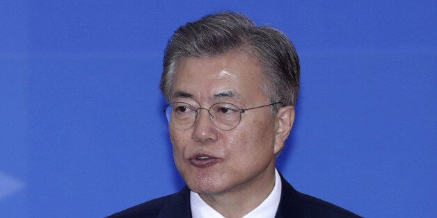 Moon Jae-in, South Korea's president, speaks during the presidential inauguration at the National Assembly...