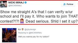 니키 미나즈가 트위터에서 팬들에게 장학금을