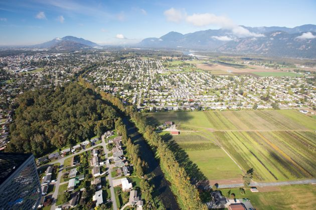 An aerial view of Chilliwack, B.C., about 100 kilometres from