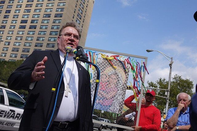 Cardinal Joseph Tobin, Newark's Roman Catholic archbishop, speaks at a protest outside an ICE office in Newark, New Jer