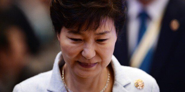 South Korean President Park Geun-hye attends the 17th ASEAN- Republic of Korea meeting during the 27th...