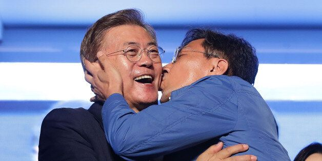 SEOUL, SOUTH KOREA - MAY 09: South Chungcheong governor An Hee-jung kisses South Korean President-elect...