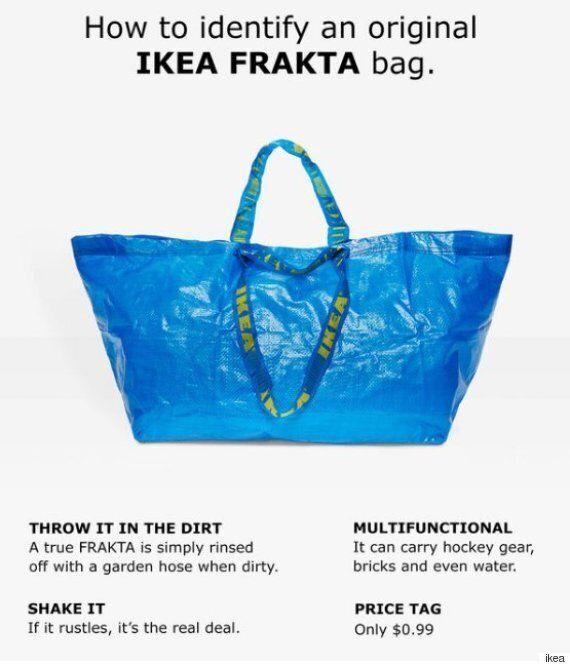 파란색 발렌시아가 가방에 대한 이케아의 재치있는