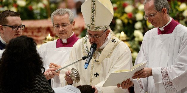 S PETER, VATICAN, LAZIO - 2017/04/15: Pope Francis in St. Peter's Basilica, celebrated the vigil that...