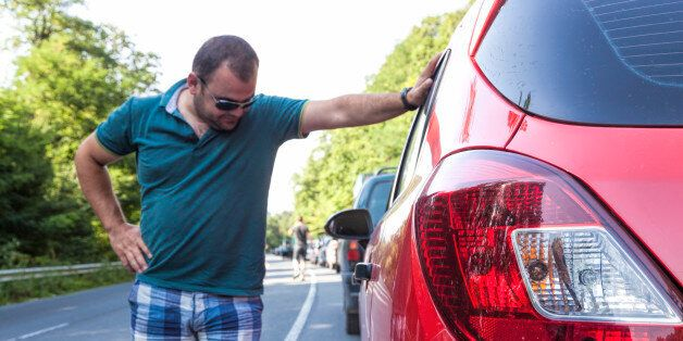 Man having a traffic nightmare on his return from