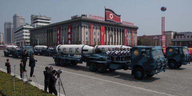 An unidentified mobile rocket lancher is displayed during a military parade marking the 105th anniversary...