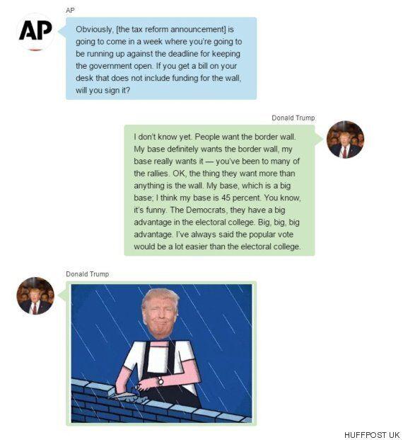 도널드 트럼프가 취임 100일 기념 인터뷰에서 헛소리를