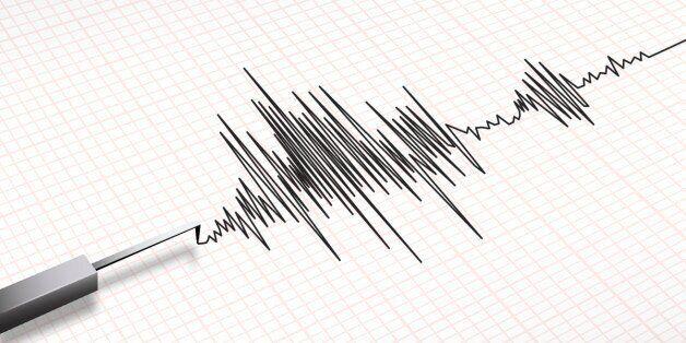 Closeup of a seismograph machine earthquake in vector
