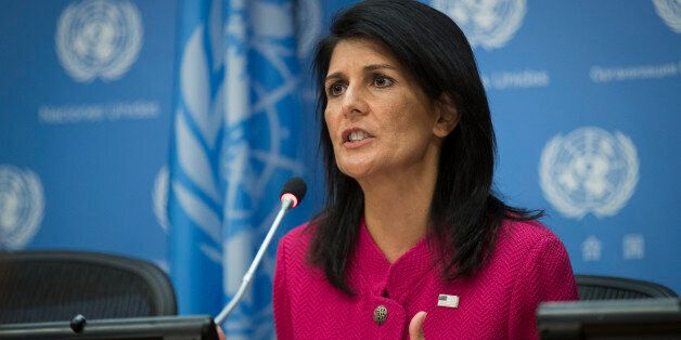 NEW YORK, NY - APRIL 3: U.S. Ambassador to the United Nation Nikki Haley answers questions during a press...