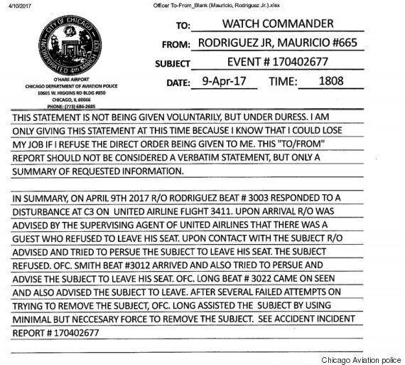유나이티드 항공 승객 조치에 대한 경찰 보고서가