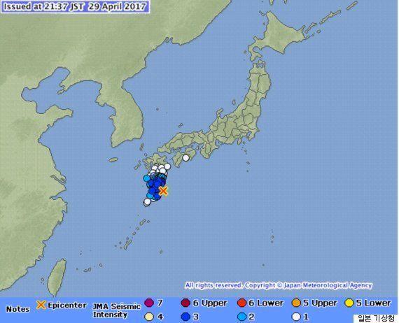 일본 규슈 남부 앞바다에서 규모 5.7 지진이