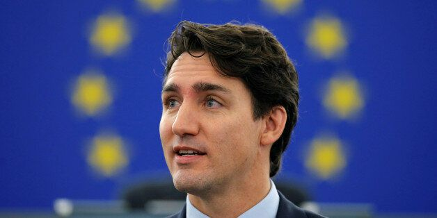 Canada's Prime Minister Justin Trudeau adresses the European Parliament in Strasbourg, France, February...