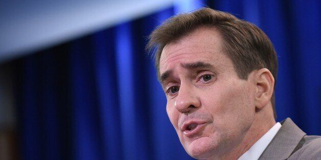 State Department Spokesman John Kirby speaks during the daily briefing at the State Department on January...