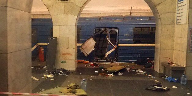 A picture shows the damaged train carriage at Technological Institute metro station in Saint Petersburg...