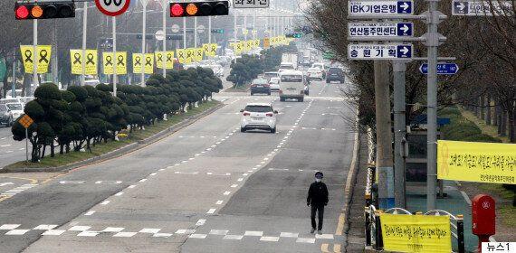 세월호 신항만 거치를 앞둔 목포 시내 거리의
