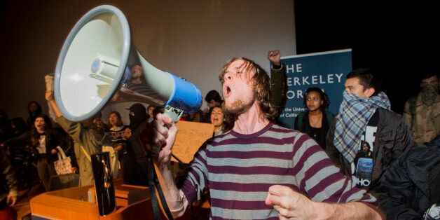 Protesters rallying against police violence storm a lecture with PayPal co-founder Peter Thiel at the...